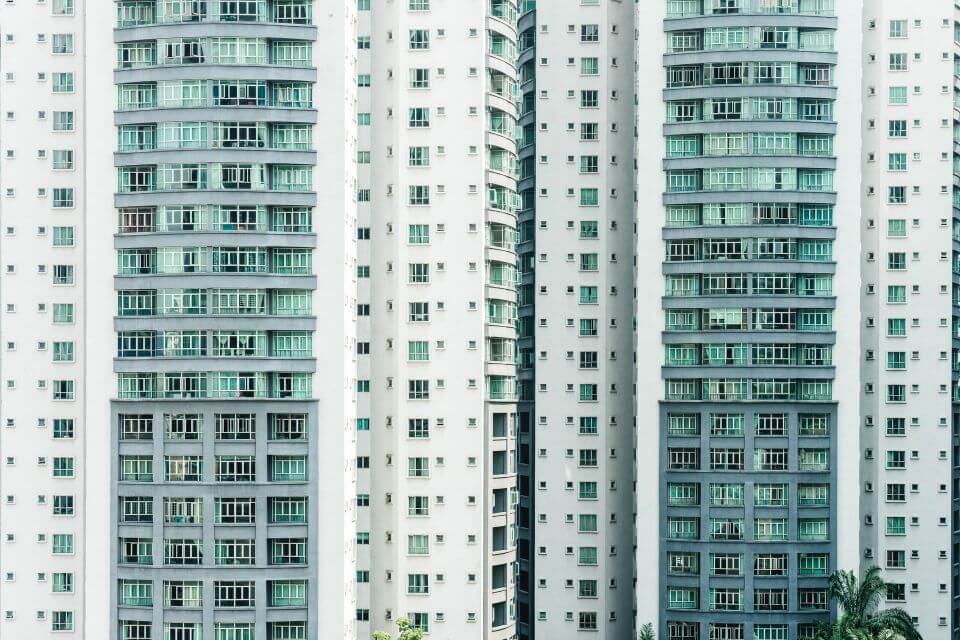 shot of two apartment/condo buildings